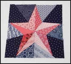 = free pattern = The Five Pointed Star block by Hot Pink Peonies: Red, White & Blue Blog Hop Block