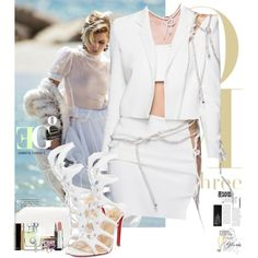 Versace Wave by eleonoragocevska on Polyvore featuring moda, Christian Louboutin, Givenchy, Blue Nile, Yves Saint Laurent, Clarins, NARS Cosmetics, Versace, Chanel and Sergio Rossi