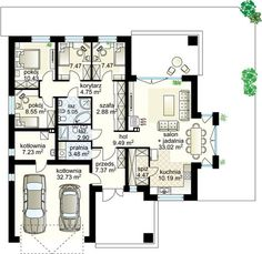 4 Pory Roku II NF40 projekt - Parter 124.75 m²  + garaż 32.73 m²