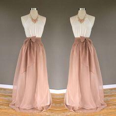 PECAN chiffon skirt bridesmaid maxi skirt floor length tea