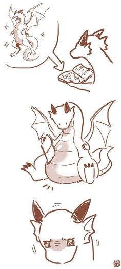 Cute Kawaii Drawings of dragons - Bing images Furry Art, Arte Furry, Fantasy Creatures, Mythical Creatures, Art Sketches, Art Drawings, Art Mignon, Cute Dragons, Cute Animal Drawings
