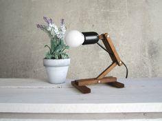 Plat Zero walnut - wooden table lamp with white shade E27 desk working night lighting