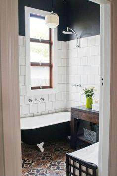 wood/white window, square tile, black walls