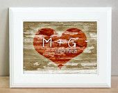 Personalized heart carved tree print - 5 x 7. $8.00, via Etsy.