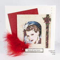 Handmade Card : This Christmas Art Deco card has been made using Art Deco Magical Christmas Cards cd by Debbi Moore Designs.