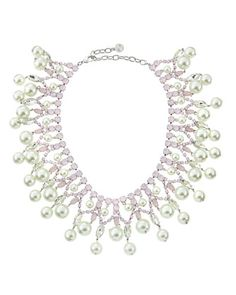 Pearly Crystal Tiered Collar Necklace, Pink by R.J. Graziano at Neiman Marcus Last Call.