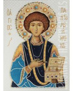 Икона святого великомученика и целителя Пантелеимона в окладе