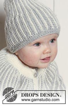 Propínací svetr – kabátek a čepice pletené kolmo, napříč vroubkovým vzorem se zkrácenými řadami z příze DROPS Merino Extra Fine.