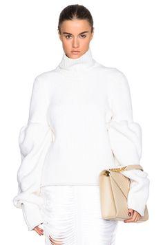 Rib Wool Boucle Round Sleeve Jumper