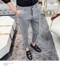 Fashion Business Stretch Suit Pants Man Luxury Brand Casual Pants Men Straight Slim Fit Formal Pants Male Plus Size Formal Dresses For Men, Formal Men Outfit, Formal Pants, Men Formal, Men's Casual Pants, Formal Shirts For Men, Indian Men Fashion, Mens Fashion Wear, Fashion Pants