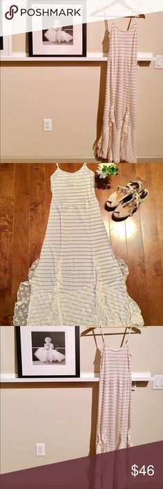 ✨Free People sheer striped laced dress✨ ✨Free People sheer striped lace dress✨ very beautiful dress with nice contrast with stripes and lace bottom hem | like new and never worn | I'm 5'2 and this is floor length for me. I recommend wearing a slip with this or if you're feeling racy, you don't have to! 😉 Free People Dresses Maxi