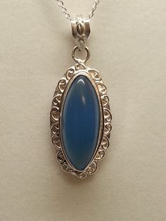 Blue Chalcedony and sterling silver pendant and chain by MDEBRJewelryDesigns on Etsy
