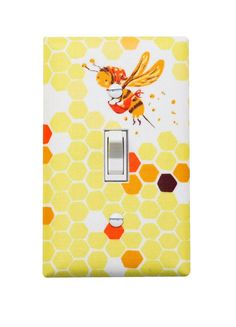Bee Light Switch Plate Cover Nursery Decor Kids Girls Room Hex Bumble Yellow Slightly Smitten Kitten