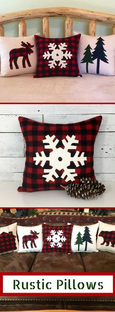 The beauty of these rustic buffalo plaid check pillows is that they would work in your home decor all year round.  I love the idea of mix and matching them on our couch. Perfect rustic, cabin, log home decor! Buffalo Plaid Snowflake Pillow, Christmas Pillow, Holiday Pillow, Winter Pillow, Snowflake Decorations, Rustic Christmas Pillow, Lodge Decor. #Buffaloplaid #buffalocheck #Pillows #homedecor #affiliate