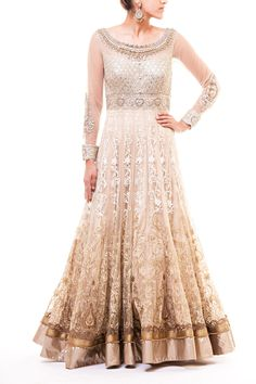 Wellgroomed Designs- Champagne Boat Neck 24 Panel Anarkali Gown