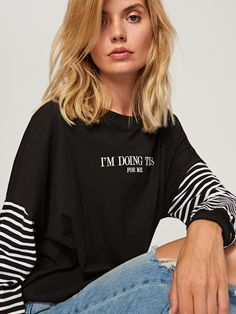Oversize blouse with slogan,RV650-99X