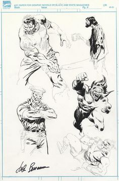 John Buscema - Punisher, etc Inked Sketch page Comic Art