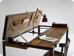 Dishfunctional Designs: New Takes On Old Doors: Salvaged Doors Repurposed - Door Desk Salvaged Doors, Old Doors, Front Doors, Door Table, A Table, Dining Table, Dining Room, Life Table, Table Flip