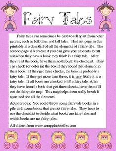 These printables can be used with any fairy tale unit.  They are a fun way for kids to learn the elements of a fairy tale.  These printables list t...