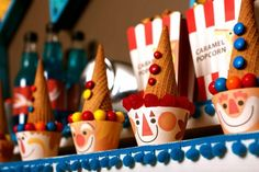 Clown Cupcakes for a Circus theme  party- COOL!