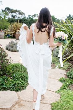 Debra and Matt Elegant Backyard Santa Barbara Wedding, Robert Bullock Lace Wedding Dress Back