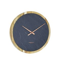 London Clock Company Carbon Round Slate & Solid Wood Copper Finish Hands Open Dial 35cm