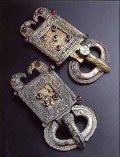 Ostrogothic Belt Buckle Zoomorphic Type: (Pictured: Ostrogothic belt buckles with Raven /Eagle headed design; circa 6th-7th c. AD)