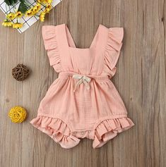 ✿ Ruffle sleeve, Sleeveless,Suit for Girls, and great for casual, Daily, party or photoshoot. Baby Girl Romper, Baby Girl Dresses, Baby Girls, Ruffle Romper, Kids Girls, Baby Boy Overalls, Baby Romper Pattern, Ruffle Apron, Toddler Girls