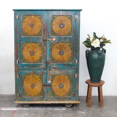 Beautiful Vintage Restored Cabinet / Wardrobe made from Teak. Support ethical and sustainable trade. Rustic Furniture, Vintage Furniture, Northern Thailand, Indoor Outdoor Living, Interior And Exterior, Teak, Restoration, Recycling, Cabinet