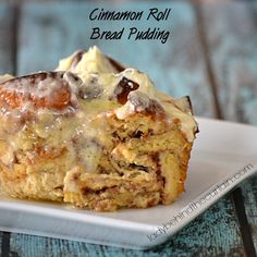 Cinnamon Roll Bread Pudding - Lady Behind The Curtain (for when your cinnamon rolls turn out a little wonky? Breakfast Pastries, Breakfast Dessert, Eat Dessert First, Breakfast Recipes, Cinnamon Roll Bread Pudding, Cinnamon Rolls, No Bake Desserts, Dessert Recipes, Dessert Bread