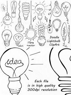 Doodle Light Bulb Clipart. Printables. $4.00