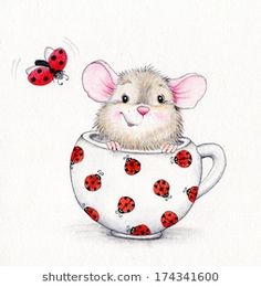 Cute mouse in the cap and ladybug - Buy this stock illustration and explore similar illustrations at Adobe Stock Illustration Mignonne, Cute Illustration, Cute Drawings, Animal Drawings, Cartoon Mignon, Art Mignon, Cute Mouse, Tatty Teddy, Penny Black
