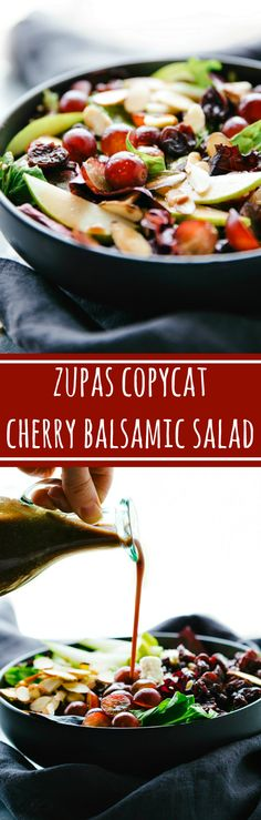 The easiest blender cherry balsamic dressing on a simple Zupas copycat salad! Balsamic Salad Recipes, Balsamic Chicken Recipes, Salad With Balsamic Dressing, Salad Dressing Recipes, Balsamic Onions, Cooking Recipes, Healthy Recipes, Skinny Recipes, Easy Recipes