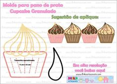 Le plus récent Pic Patchwork molde Populaire Cupcakes, Iris Folding, Decorative Towels, Sewing Appliques, Sewing Tools, Miniture Things, Applique Designs, Felt Crafts, Crochet Stitches