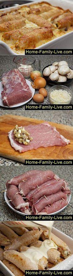 Крученики - мясные рулеты с начинкой