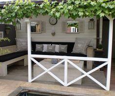 Wat een mooi en stijlvol idee voor de tuin. Leuke witte veranda met druivenstruik. Denk dat dit zelfs past in mijn kleine tuin...gezellig!! Mehr