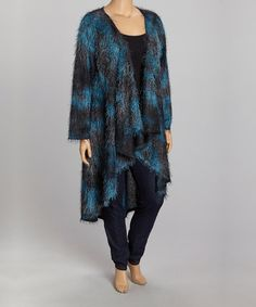 This Black & Teal Abstract Open Cardigan - Plus by Yummy is perfect! #zulilyfinds
