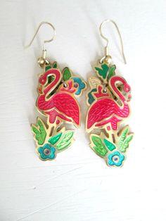 Too bad these already sold. Pink Flamingo Pierced Earrings Berebi Vintage by looseendsvintage, $20.00