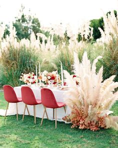 Berry Toned Holiday Wedding Inspiration in a Pampas Grove – Style Me Pretty Orchid Centerpieces, Small Centerpieces, Wedding Table Centerpieces, Wedding Table Settings, Wedding Decorations, Centerpiece Ideas, Decor Wedding, Rustic Wedding, Aisle Decorations