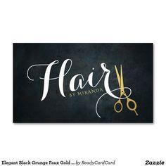 Elegant Black Grunge Faux Gold Scissors Hair Salon Business Card