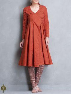 Buy Rust Angrakha Cotton Kurta by Jaypore Apparel Tunics & Kurtas Earth Song Contemporary Jackets Dresses More Online at Jaypore.com