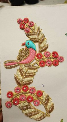 Colorful Bird Embroidery, Indian Embroidery, Embroidery Patches, Hand Embroidery Designs, Embroidery Patterns, Work Blouse, Blouse Patterns, Blouse Designs, Zardosi Work Design