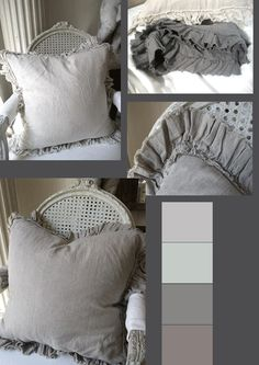 Fabulous heavy linen cushions, gorgeous shades of grey and chalky pales from Full Bloom Cottage