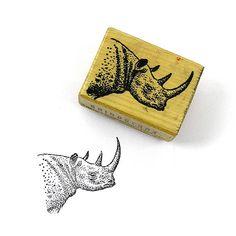Vintage 1978 Wood Handle Rubber Stamp Rhino by 42ndAvenueVintage
