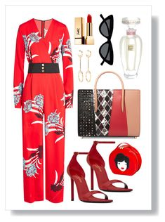 """reddy babe"" by shashya on Polyvore featuring Diane Von Furstenberg, Christian Louboutin, Yves Saint Laurent, Tatty Devine, Chloé, Le Specs, Lalique, red and girl"
