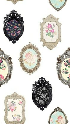 vintage frames + fabric or wallpaper