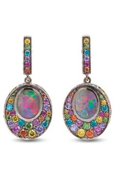 OPAL FRUIT EARRINGS Black Opals, Diamonds, Sapphires and Rubies in blackened 18ct white gold