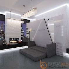 InLine Murphy Bed with Hutches and InLine Sofa Wall Bed with Sofa Murphy Bed Desk, Murphy Bed Plans, Inline, Loft Beds For Teens, Modern Murphy Beds, Wall Shelves Design, Bed Wall, Bedroom Layouts, Apartments