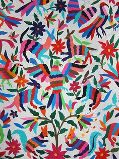 Doing some research for a big project and I'm falling hard for this Bedspread == Otomi Embroidered Mexico
