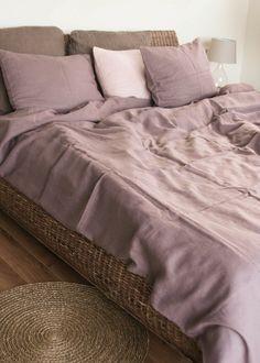 Lavender Linen Duvet Cover/Natural Linen/Queen by pureandlinen